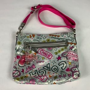 Coach poppy butterfly graffiti shoulder bag